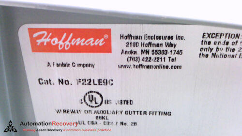 """90 DEGREE ELBOW LAY-IN WIREWAY HOFFMAN F22LE9C NEW #216419 2-1//2/"""" X 2-1//2/"""""""