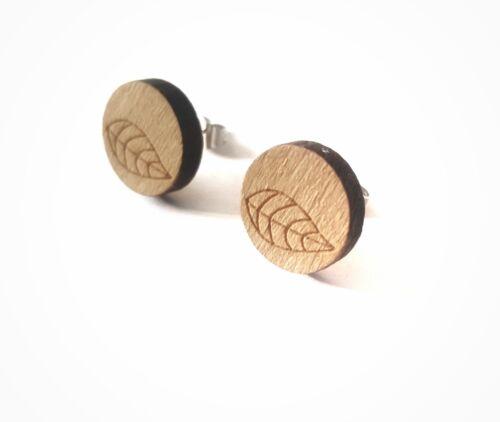 Holz Ohrstecker Blatt im Kreis Ohrringe Feder Natur rund Baum braun silber