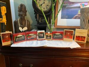 VINTAGE-Hallmark-Lot-of-8-Ornaments-Trains-BUNDLE-Ornaments-Stands-RARE