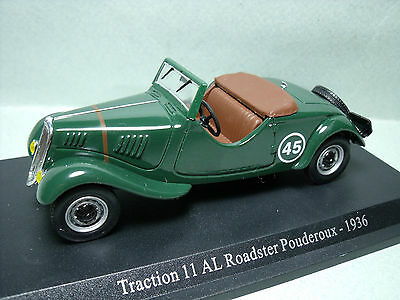 CITROEN  TRACTION   AVANT  11 AL  ROADSTER  POUDEROUX  1936  ATLAS  PRESSE  1/43