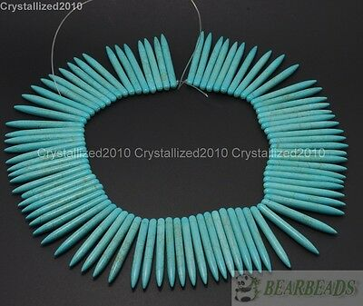 Howlite Turquoise Gemstone 5mm x 50mm Stick Spike Choker Necklace Beads 16''