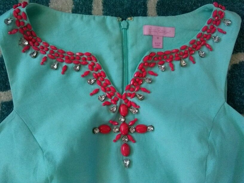 Lilly Pulitzer Jackie Beaded Shell oben Größe 10 Teal Crystal Water Sleeveless