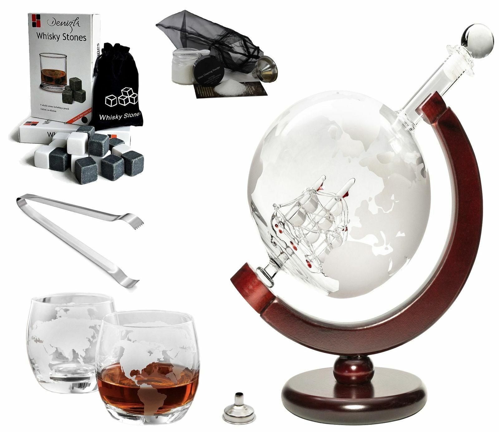 50 Oz 'Ship' Handmade Whisky Etched Globe Decanter Mega Set with Globe Glasses