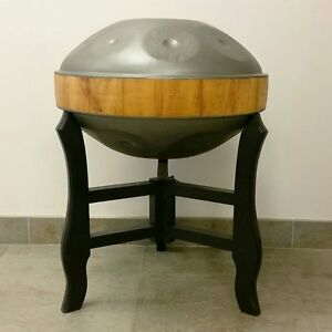 CUSTOMIZED-folding-wooden-STAND-for-HANDPAN-handrum-hung-Black-Natural-Finish