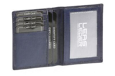 Ausweis und Kreditkartenhülle LEAS in Echt-Leder Etuis Hochformat dunkelblau