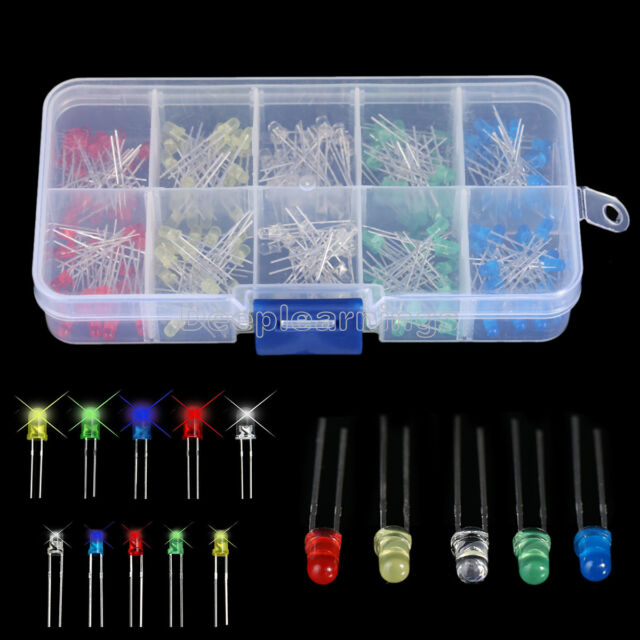 150pcs 3mm 5mm LED Light White Red Green Yellow Assorted Emitting Diode DIY