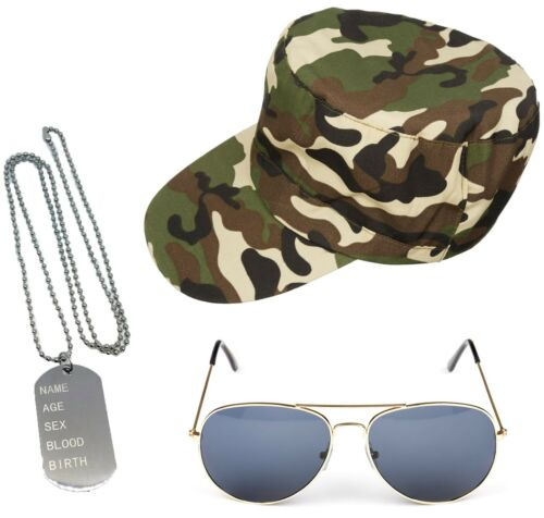 ARMY FANCY DRESS CAMOUFLAGE HAT DOG TAGS GOLD AVIATORS HEN PARTY STAG DO UNISEX