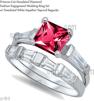 Princess Cut Ruby Red Wedding / Engagement Genuine Sterling Silver Ring Set