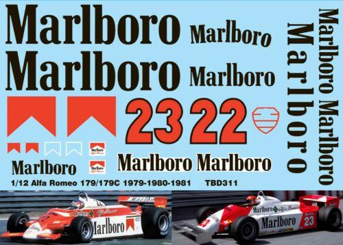 1//12 DECALS ALFA ROMEO 179 179C  1979 1980 1981  DECAL TBD311