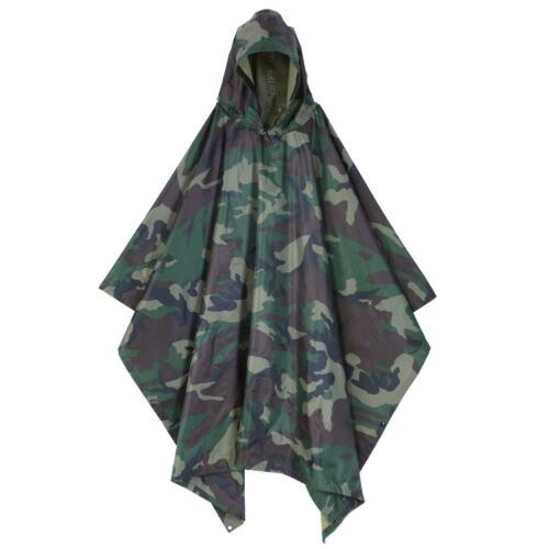 Waterproof Army Ripstop Hooded Festival Rain Poncho for Camping Hiking Military