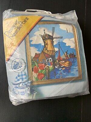 vintage needlepoint kit 24 x 20 inch  1560 Windmills  Columbia-Minerva Bob Miller 1973  Dutch Holland tulips boats water windmill