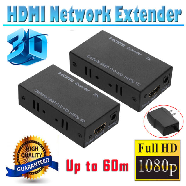 1080P HDMI Network Extender Over Single CAT5E/CAT6 Ethernet Cable 3D 60M/196ft