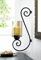 Large Gold & Black Iron Hurricane Artisanal Sconce Wall Mount Candle Holder Lamp