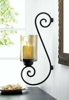 Large Gold & Black Iron Hurricane Artisanal Sconce Wall Mount Candle Holder Lamp