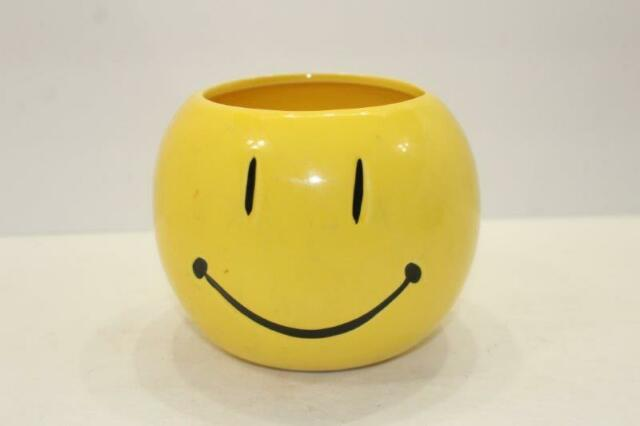Smiley Smile Face Planter Vase Bowl Ceramic Yellow 4 12 Tall 3 12