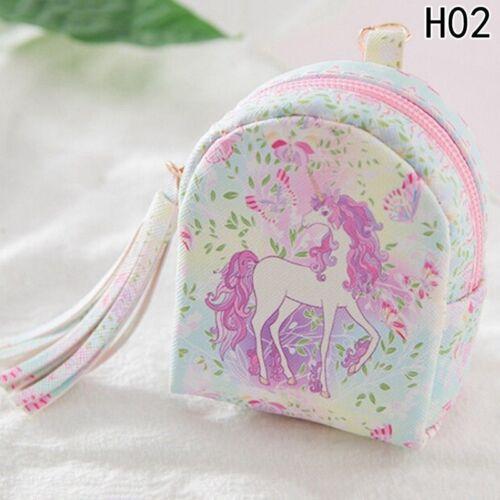 PU Leather Cute Mini Wallet Unicorn Coin Purse Zipper Coin Backpack Card Bag UK