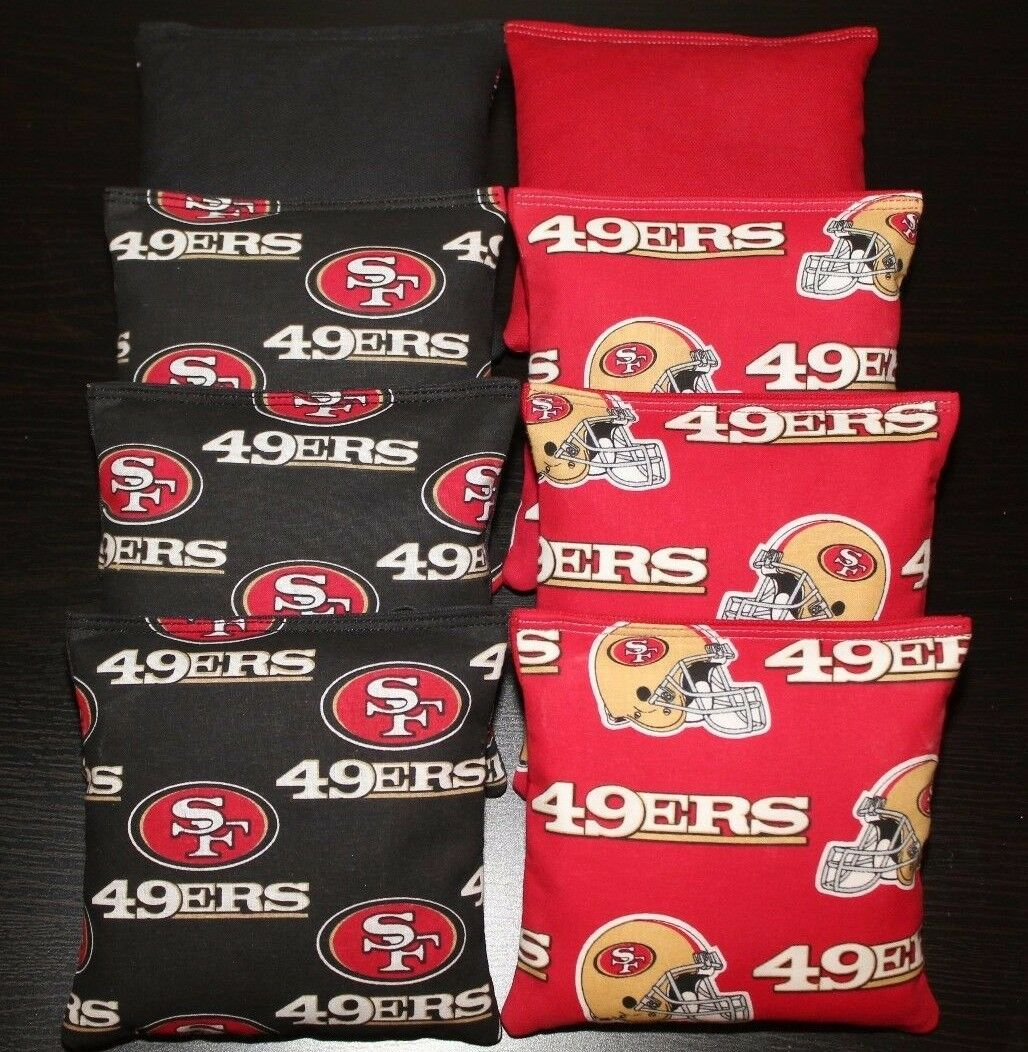ALL WEATHER SAN FRANSISCO 49er Cornhole Bean Bags Resin Filled WATERPROOF