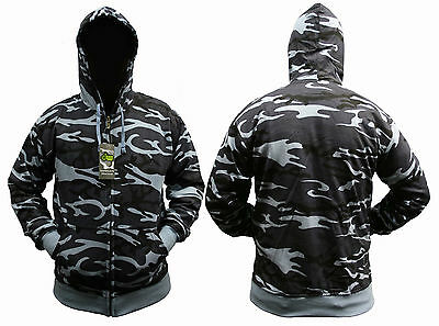 ARMY COMBAT CAMO ZIP UP HOODY HOODIE HOODED TOP S M L XL XXL 3XL