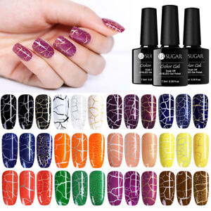 UR-SUGAR-7-5ML-Crackle-UV-LED-Gel-Nagellack-Schwarz-Gel-Lacke-Manikuere-12-Farben