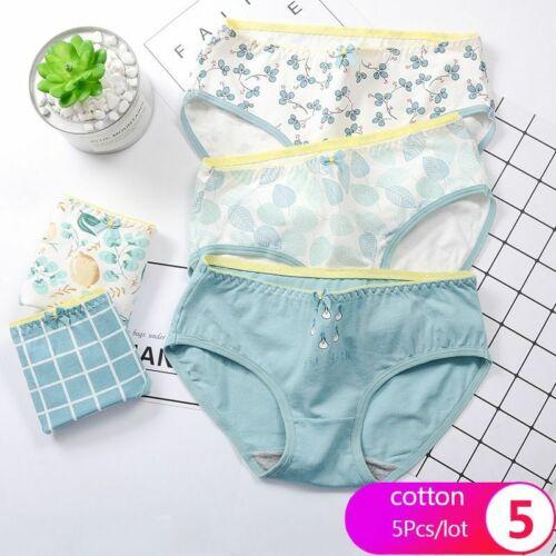 5Pcs//lot Women Panties Soft Cotton Underwear Girls Cute Print Intimate Plus Size