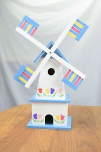 Holland Windmill Birdhouse, Hand-Painted, All Wood Construction