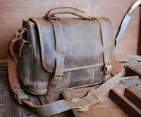 NEW Vintage Rugged Leather Men's Briefcase Laptop Messenger Shoulder Bag Satchel