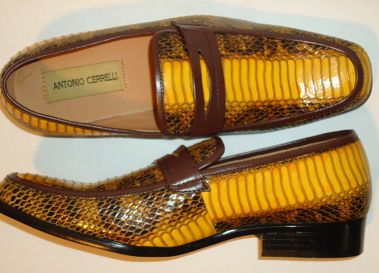 Antonio Cerrelli 6494 Mens Yellow Scotch Faux Snake Emboss Slip On Dress Loafers