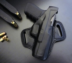 Fits-Glock-17-19-22-23-24-31-32-34-35-37-38-RIGHT-hand-BLACK-leather-holster