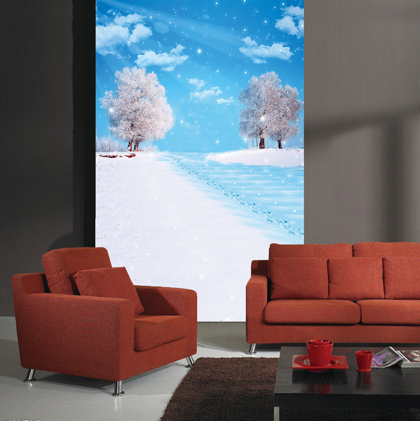 3D snow road trees Wall Paper Print Decal Wall Deco Indoor wall Mural