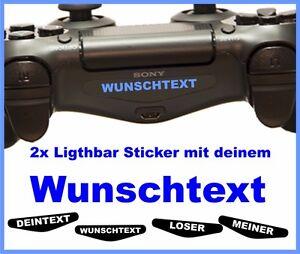 2-Stueck-PS4-Pro-Lightbar-Sticker-WUNSCHTEXT-NAME-Skin-Playstation-4