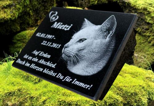 Tiergrabstein Fotogravur Grabstein Granit Katze Hund 20х15x1cm Grabplatte