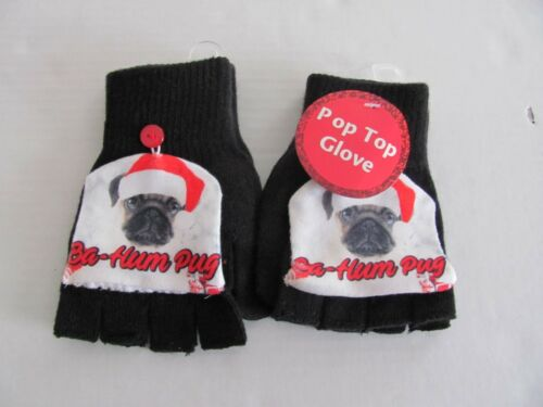 "kids sized NEW-Holiday Festive Finger-less Gloves /""BA HUM PUG/"" Pug dog gloves"