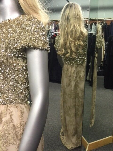 BADGLEY MISHKA gold Embellished Lace Gown Size 4 Gorgeous
