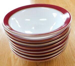 "Vintage PYREX Lot 8 Berry/Dessert Bowls~Burgundy Red/Gold Trim 5.5"" Milk Glass"