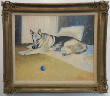 German Shepherd Animal Canine Dog Police K-9 Officer Portrait Sporting Painting