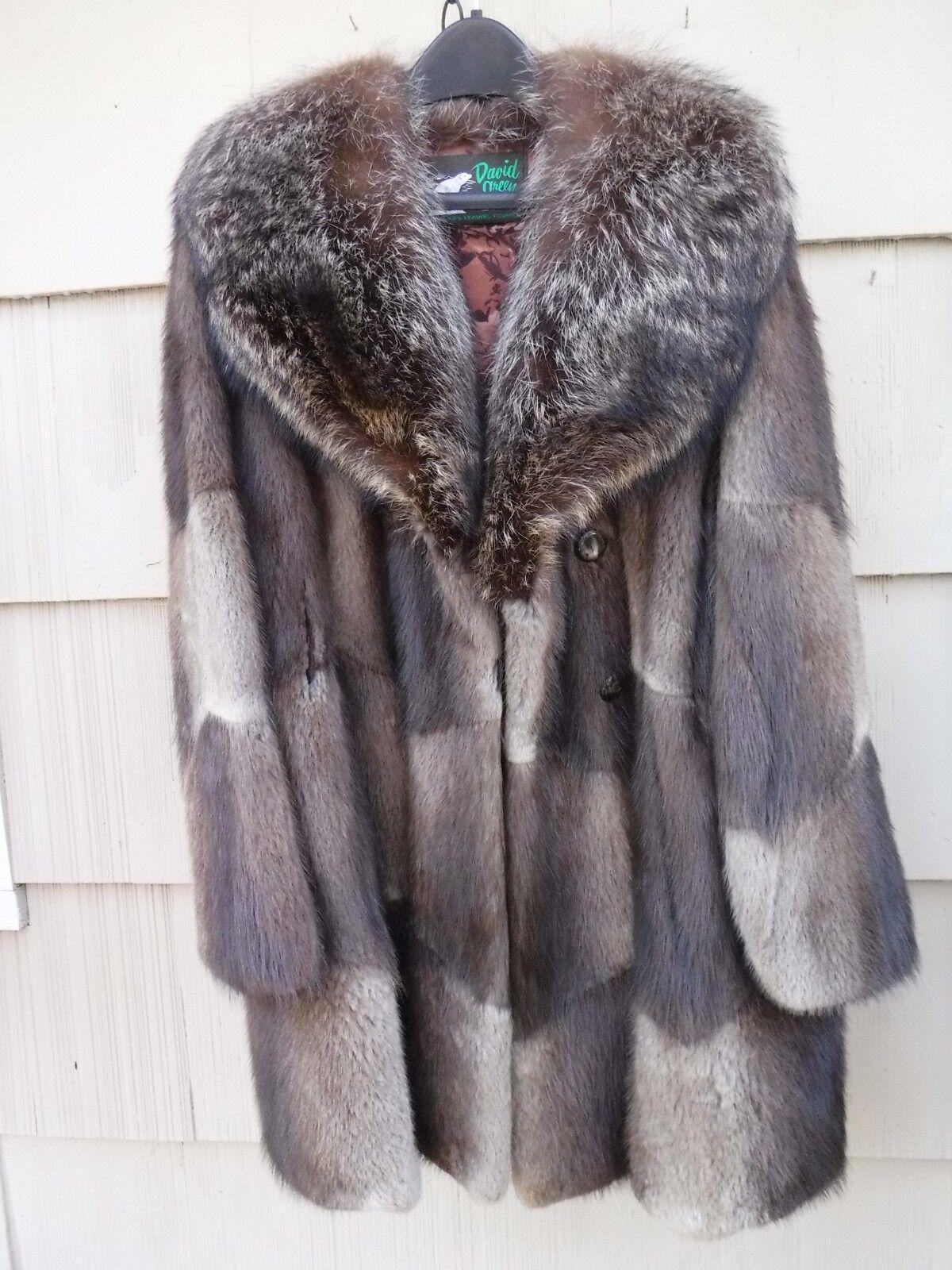 Vintage David Green Alaska Muskrat & Fox Collar Coat Medium