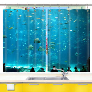 D Aquarium Fish World Kitchen Curtains