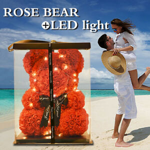 Led-Light-Romantic-Rose-Teddy-Bear-Art-Valentine-039-s-Day-Wedding-Gift-With-Box