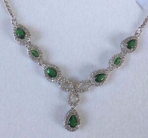 NE-02-Green-Emerald-Pear-Sim-Diamond-White-Gold-GF-Statement-Necklace-Plum-BOXED