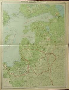 Details about 1922 LARGE ANTIQUE MAP ~ BALTIC STATES & EAST PRUSSIA ~  LITHUANIA LATVIA