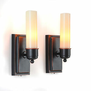 Flameless Indoor Candle LED Wall Sconces Sconce Set of 2 Lamp Light Holder