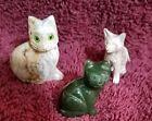3 small semi-precious stone cats opal, jade