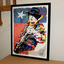 Stevie Ray Vaughan, SRV, Blues Guitar Player, Singer, 18x24 POSTER w/COA F