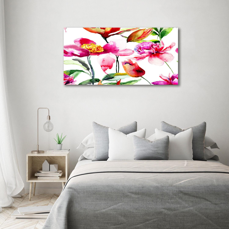 Cuadros de pa rojo    de pantalla de cristal de la impresión en vidrio arte decorativo Flores 140 x 70 2a98ed