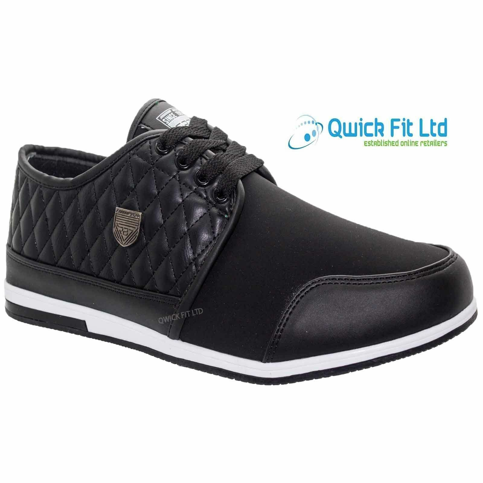 New Mens Lace Up Flat Light Quilted Casual Smart Low Ankle shoesTrainers Uk Size