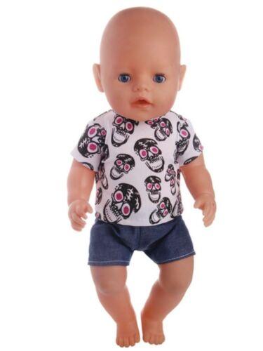 43 cm NEU Shirt+Hose Totenkopf zb Puppenkleidung Baby Born/Sister