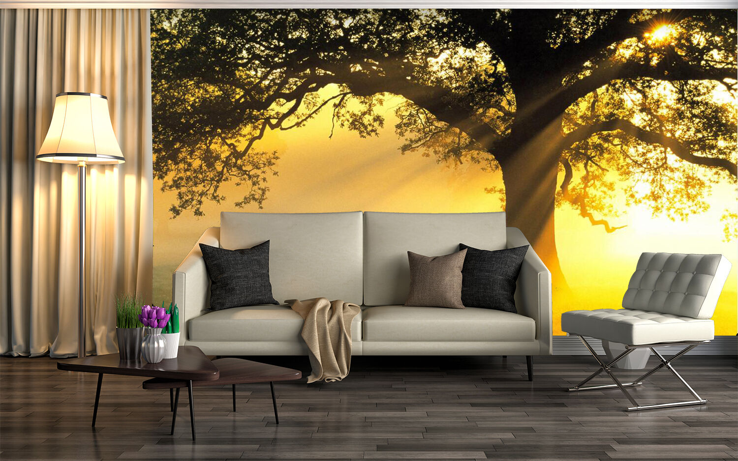 3D Sunshine Lonely Tree 927 Wall Paper Wall Print Decal Wall Deco Indoor Wall