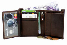 Starhide Mens Soft Oiled Brown Leather Wallet With Zip & Flap Coin Pocket 1105