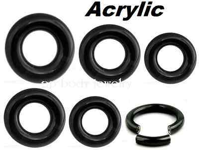 "00G 1//2/"" 5//8/"" 3//4/"" PAIR of Black Acrylic Segment Ring Hoop Ear /& Septum 8G"