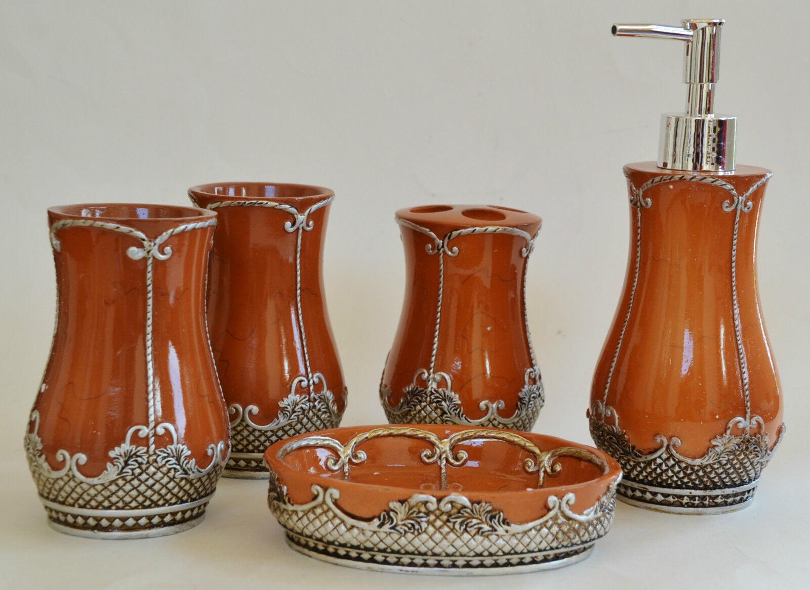 Neu 5PC Set Orange + braun + Silber Harz Seifenspender +Schale+
